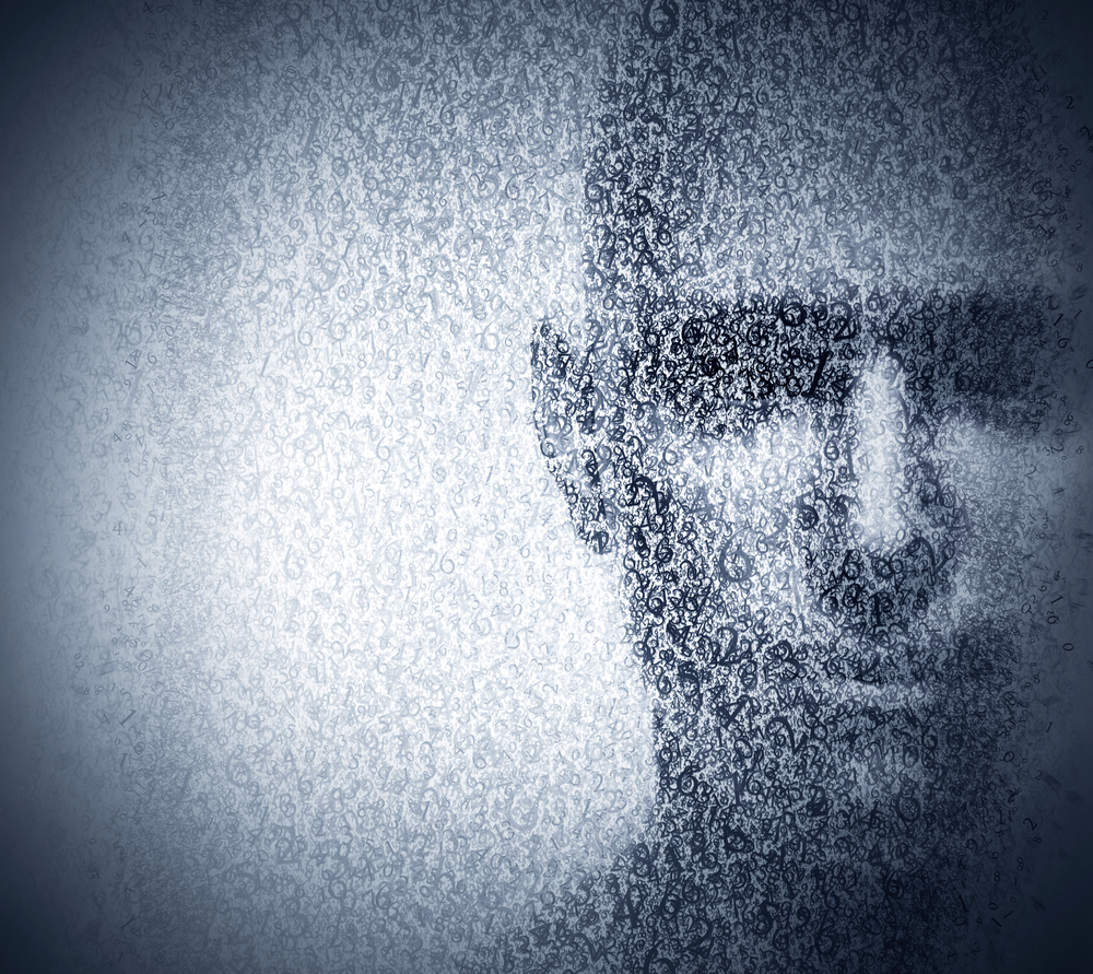 Man face blended with binary code digits. Concept of hacker, coding, programming, data protection etc.