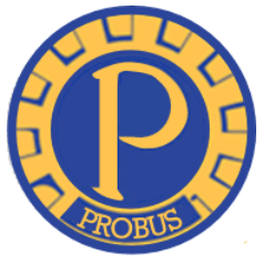 Probus Club logo: yellow P on a blue and yellow coin, the word Probus underneath in caps